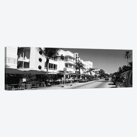 Miami Panoramic Skyline Cityscape (Black & White - South Beach) Canvas Print #6322} Canvas Wall Art