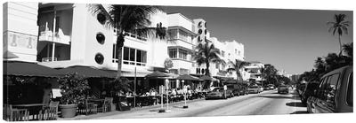 Miami Panoramic Skyline Cityscape (Black & White - South Beach) Canvas Art Print