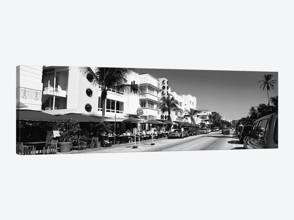 Miami Panoramic Skyline Cityscape (Black & White - South Beach) 1-piece Canvas Wall Art