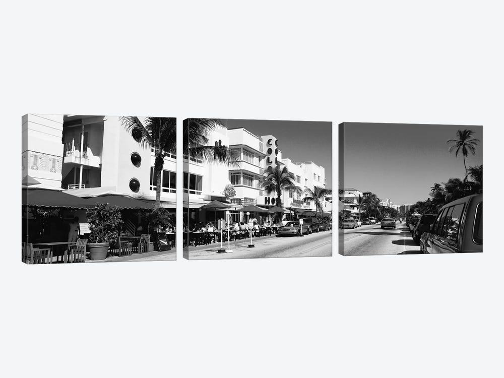 Miami Panoramic Skyline Cityscape (Black & White - South Beach) by Unknown Artist 3-piece Canvas Art