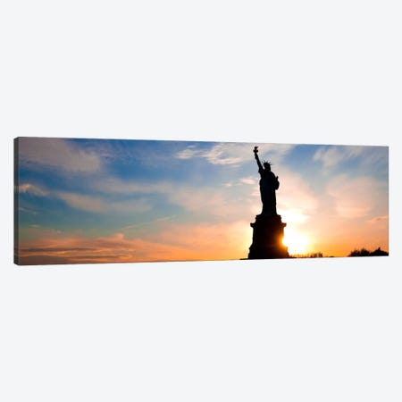 New York Panoramic Skyline Cityscape (Statue of Liberty - Sunset) Canvas Print #6323} by Unknown Artist Canvas Art