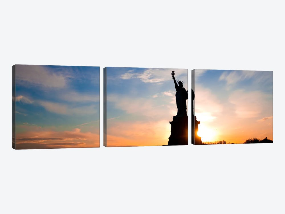 New York Panoramic Skyline Cityscape (Statue of Liberty - Sunset) 3-piece Canvas Print