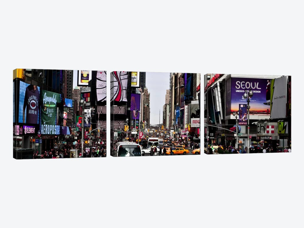 New York Panoramic Skyline Cityscape (Times Square - Day) by Unknown Artist 3-piece Canvas Art Print
