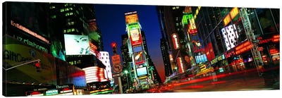 New York Panoramic Skyline Cityscape (Times Square - Night) Canvas Art Print