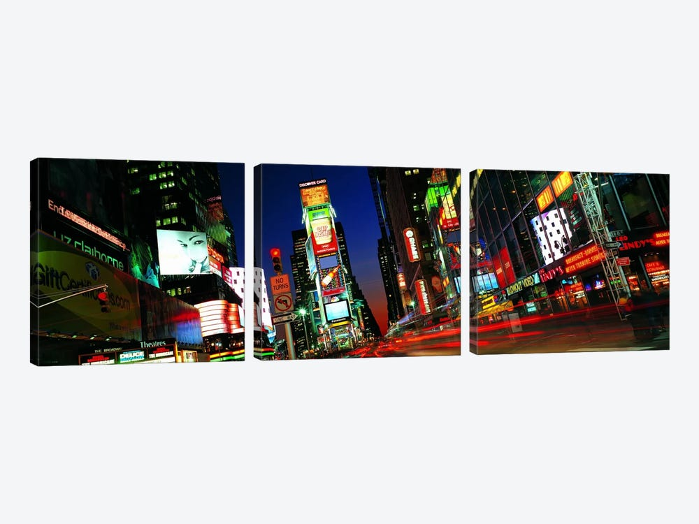 New York Panoramic Skyline Cityscape (Times Square - Night) 3-piece Canvas Art Print