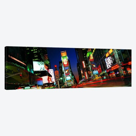 New York Panoramic Skyline Cityscape (Times Square - Night) 3-Piece Canvas #6327} by Unknown Artist Art Print