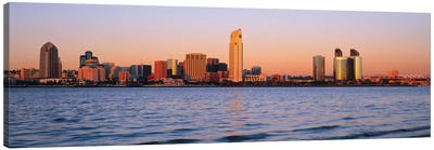 San Diego Panoramic Skyline Cityscape (Sunset) Canvas Print #6332