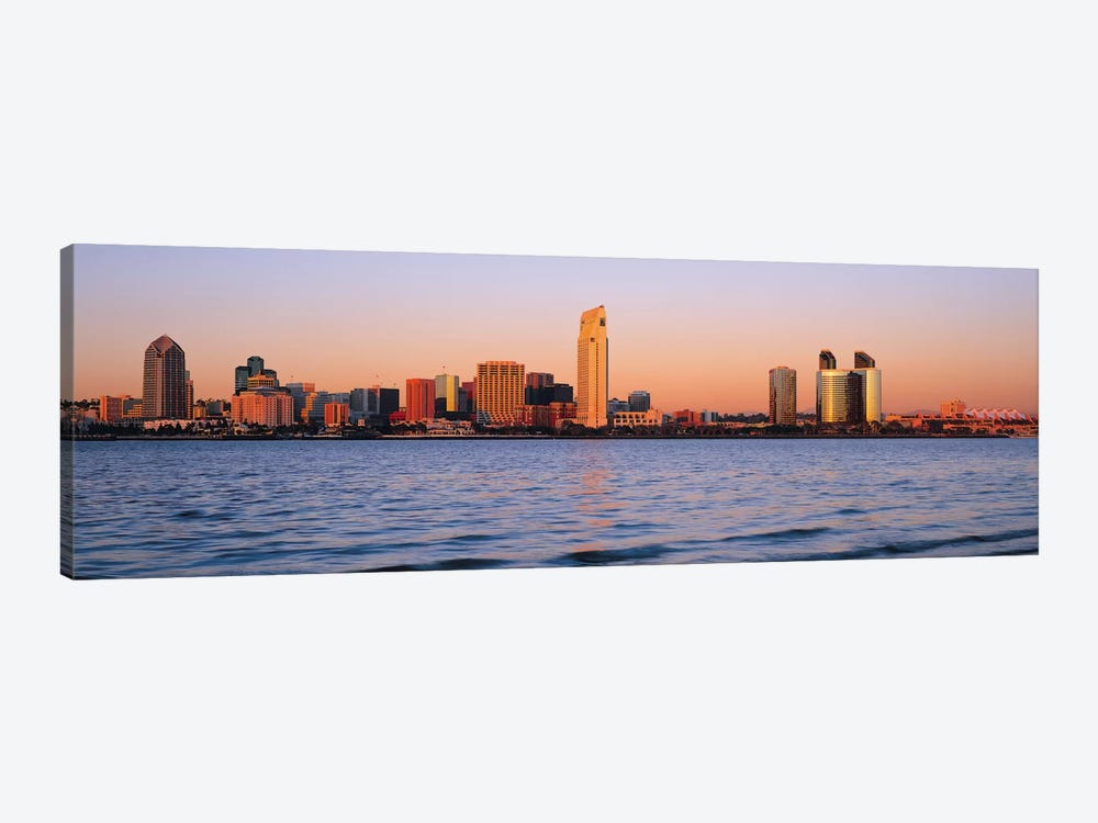 San Diego Panoramic Skyline Cityscape (Sunset) 1-piece Canvas Art Print