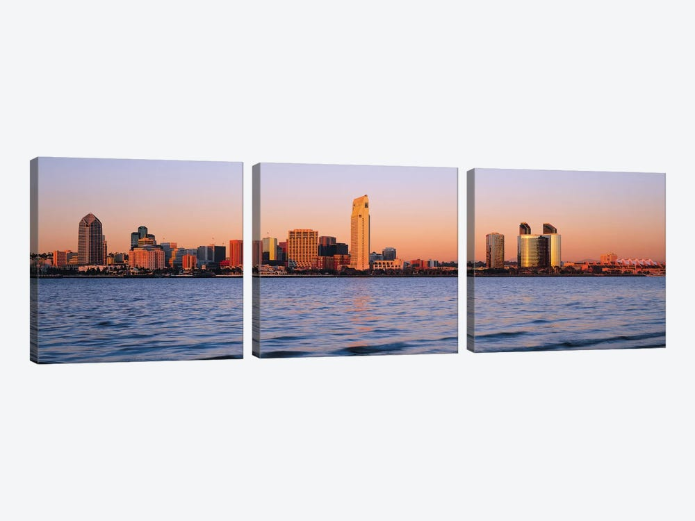 San Diego Panoramic Skyline Cityscape (Sunset) by Unknown Artist 3-piece Canvas Print