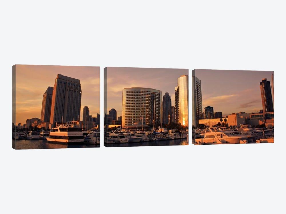 San Diego Panoramic Skyline Cityscape by Unknown Artist 3-piece Canvas Art