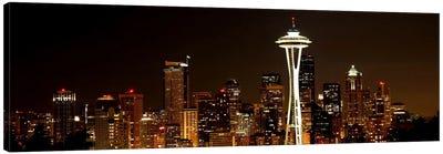 Seattle Panoramic Skyline Cityscape (Night) Canvas Art Print