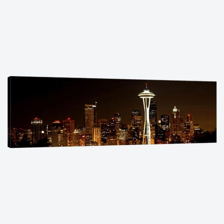 Seattle Panoramic Skyline Cityscape (Night) Canvas Print #6337} Canvas Art