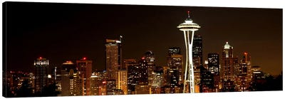 Seattle Panoramic Skyline Cityscape (Night) Canvas Art Print