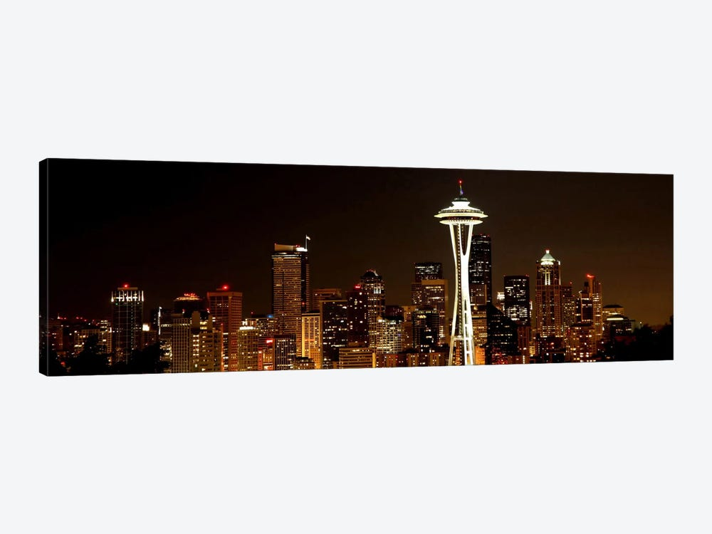 Seattle Panoramic Skyline Cityscape (Night) by Unknown Artist 1-piece Canvas Art