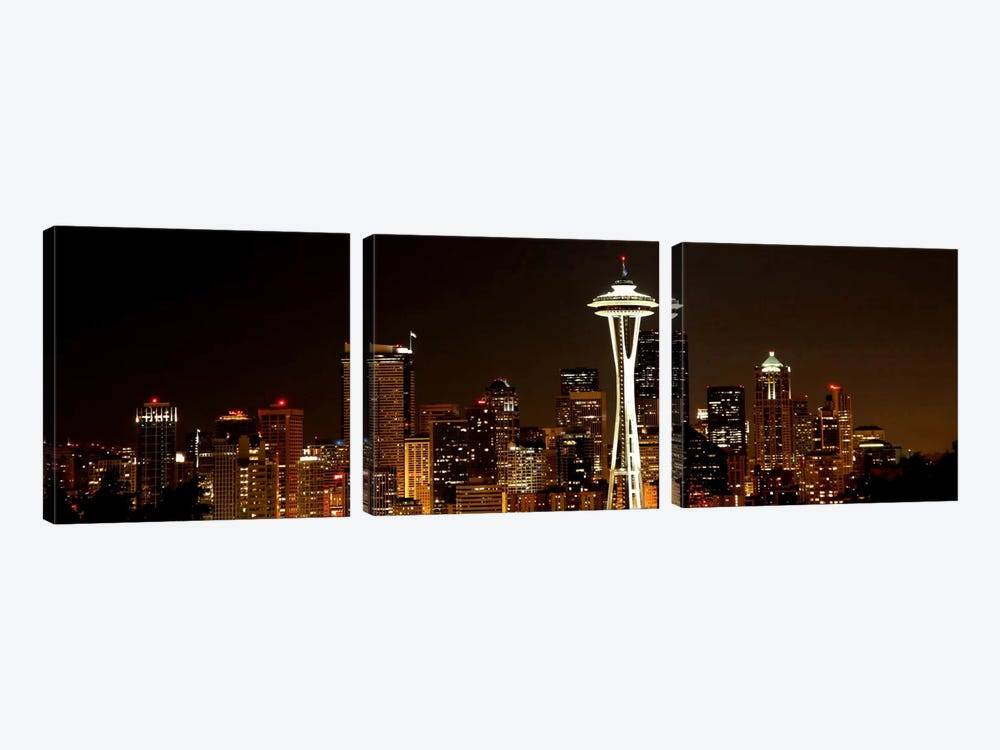 Seattle Panoramic Skyline Cityscape (Night) by Unknown Artist 3-piece Canvas Art