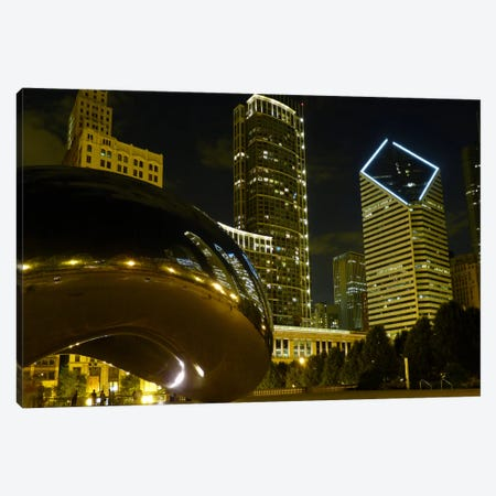 Chicago Cloud Gate Aka The Bean Cityscape Canvas Print #7004} Canvas Art Print