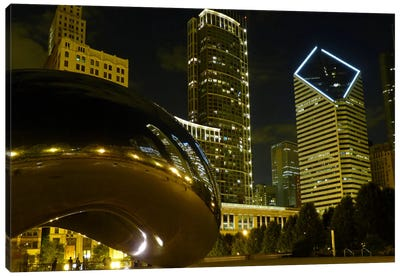 Chicago Cloud Gate Aka The Bean Cityscape Canvas Art Print