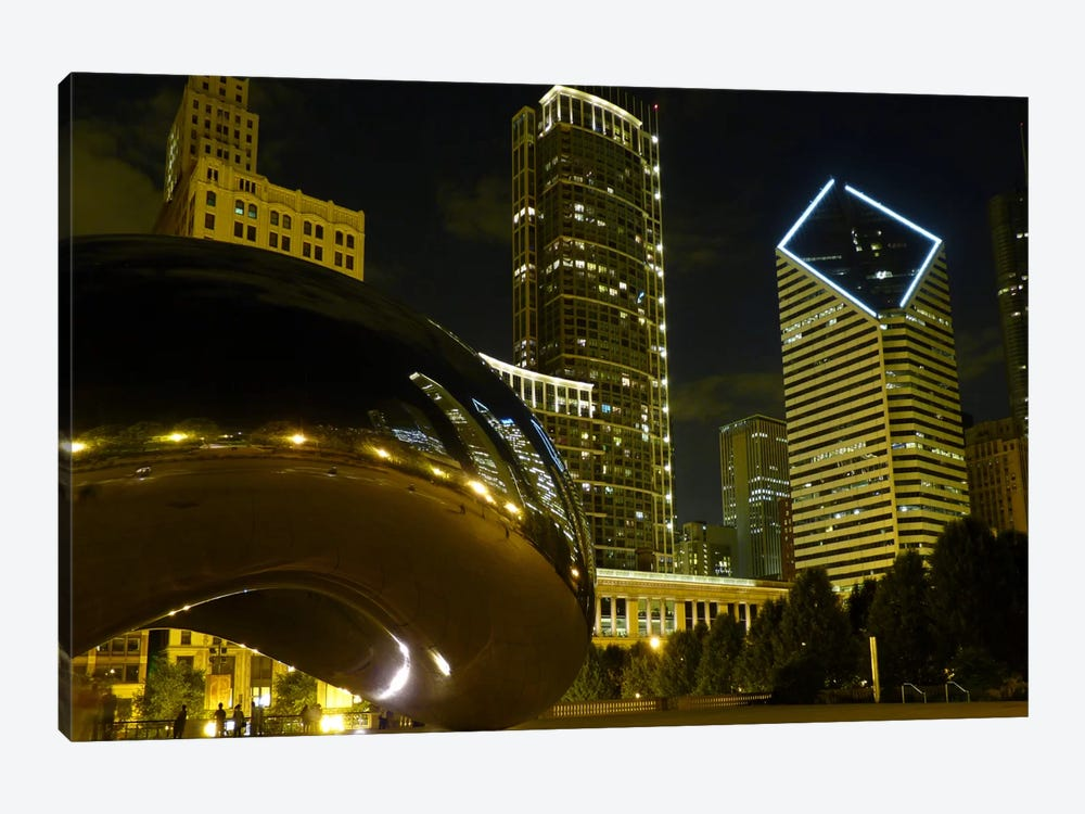 Chicago Cloud Gate Aka The Bean Cityscape by Unknown Artist 1-piece Canvas Wall Art