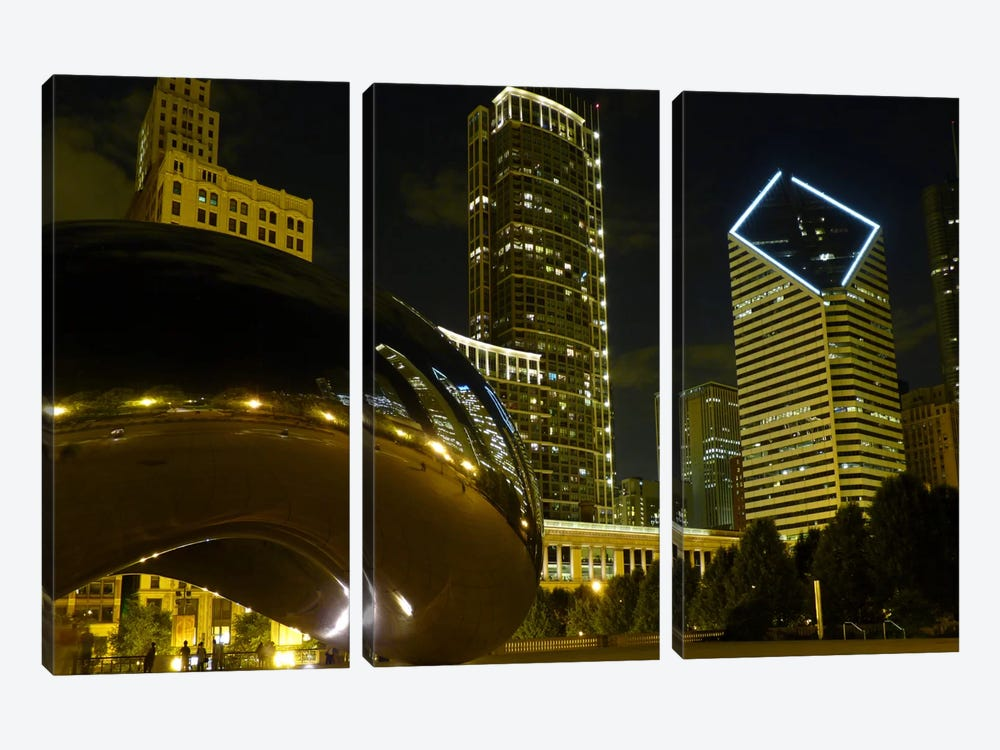 Chicago Cloud Gate Aka The Bean Cityscape by Unknown Artist 3-piece Canvas Artwork