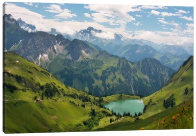 Swiss Alps Spring Mountain Landscape Canvas Art Print