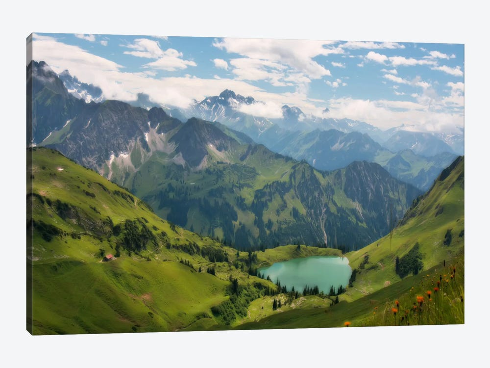 Swiss alps spring mountain landscape 1 piece art print