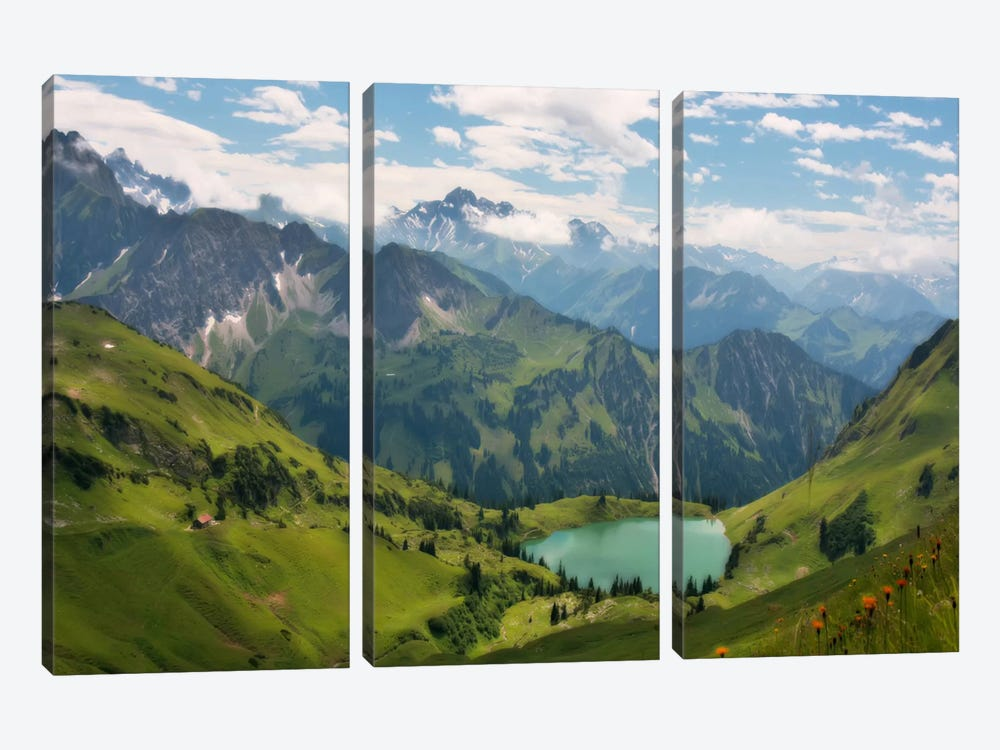 Swiss Alps Spring Mountain Landscape 3-piece Art Print