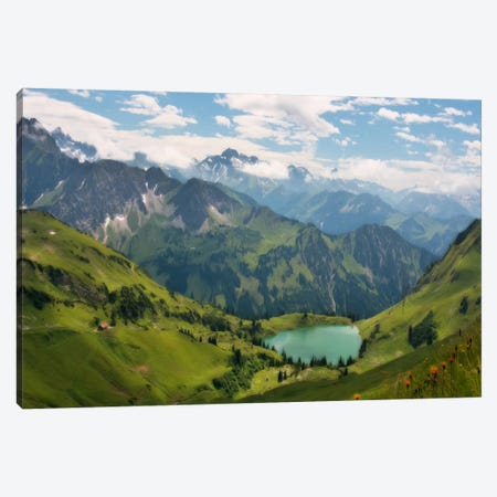 Swiss Alps Spring Mountain Landscape 3-Piece Canvas #7007} by Unknown Artist Canvas Print