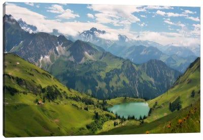 Swiss Alps Spring Mountain Landscape Canvas Art Print