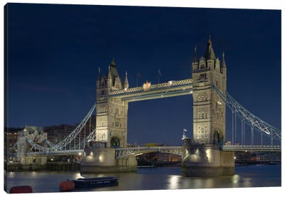 London Tower Bridge At Night Canvas Print #7011