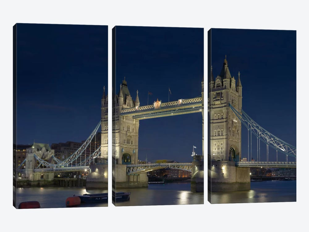London Tower Bridge At Night by Unknown Artist 3-piece Canvas Wall Art