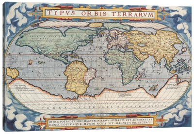 Antique Map of The World, 1570 Canvas Art Print