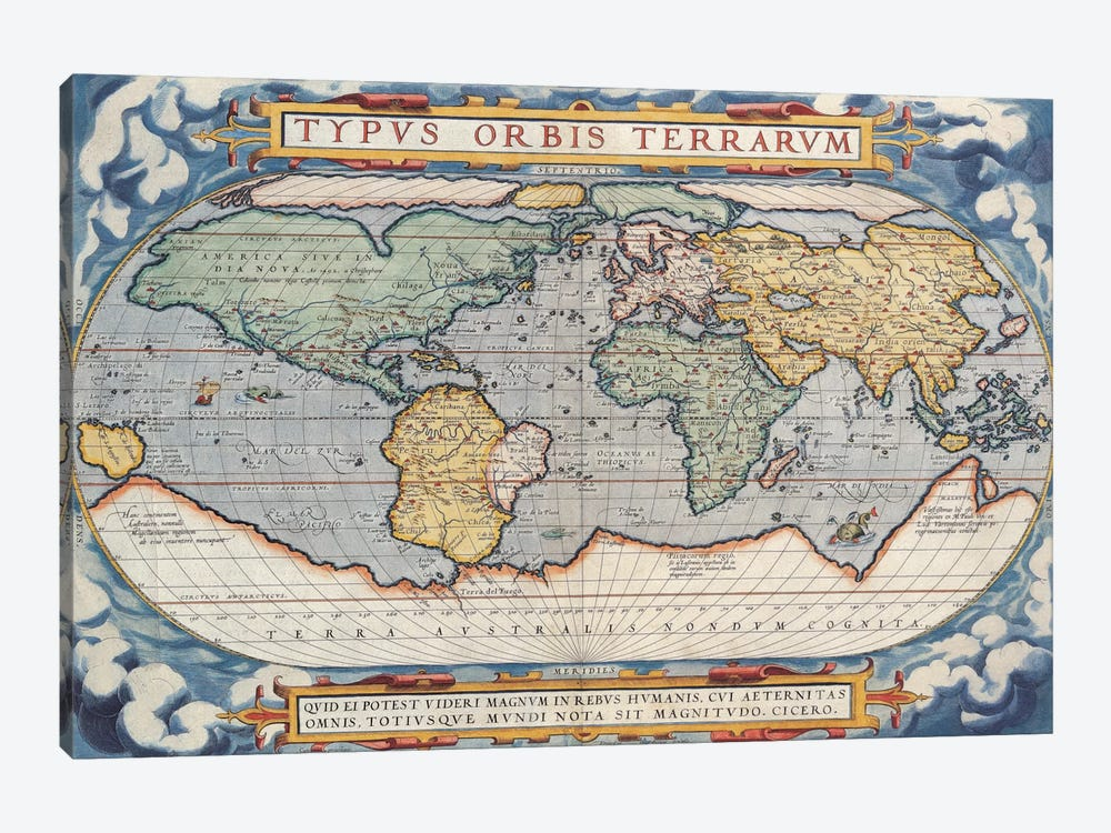 Antique Map of The World, 1570 1-piece Art Print