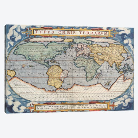 Antique Map of The World, 1570 Canvas Print #7012} by Unknown Artist Art Print