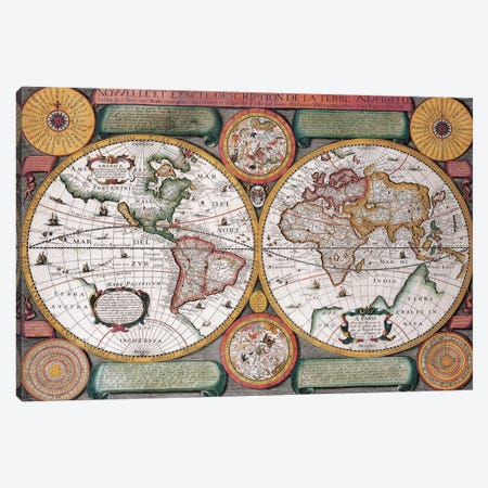 Antique Map, Terre Universelle, 1594 Canvas Print #7013} by Unknown Artist Canvas Print