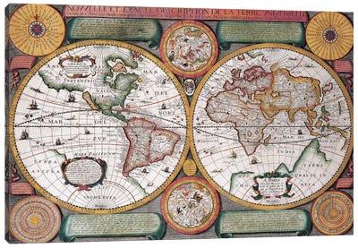 Antique Map, Terre Universelle, 1594 Canvas Art Print