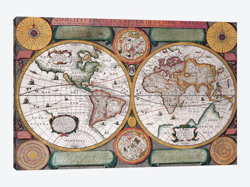 Antique Map, Terre Universelle, 1594 by Unknown Artist 1-piece Canvas Art