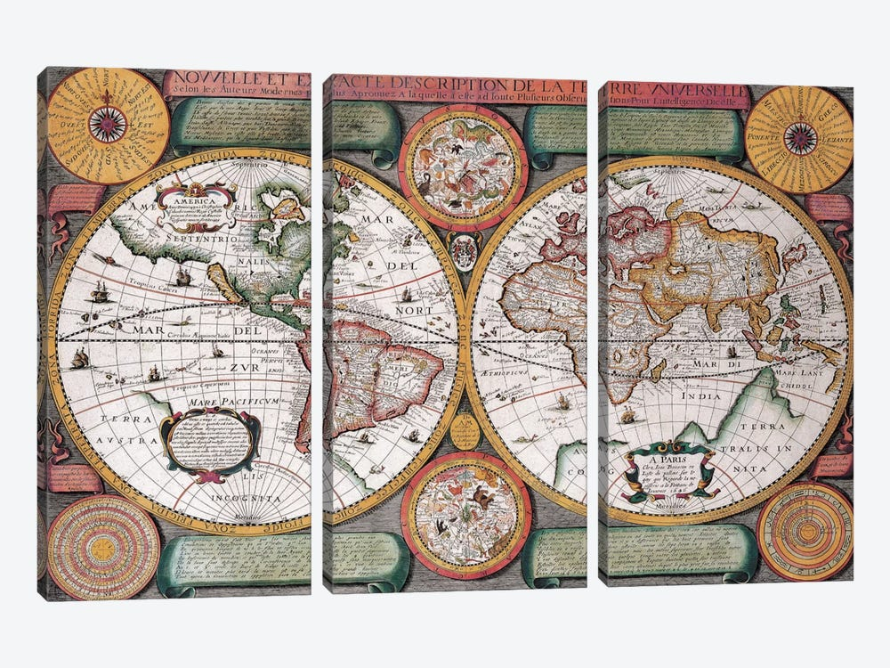 Antique Map, Terre Universelle, 1594 by Unknown Artist 3-piece Canvas Artwork