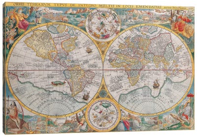 Antique Map of The World, 1594 Canvas Wall Art