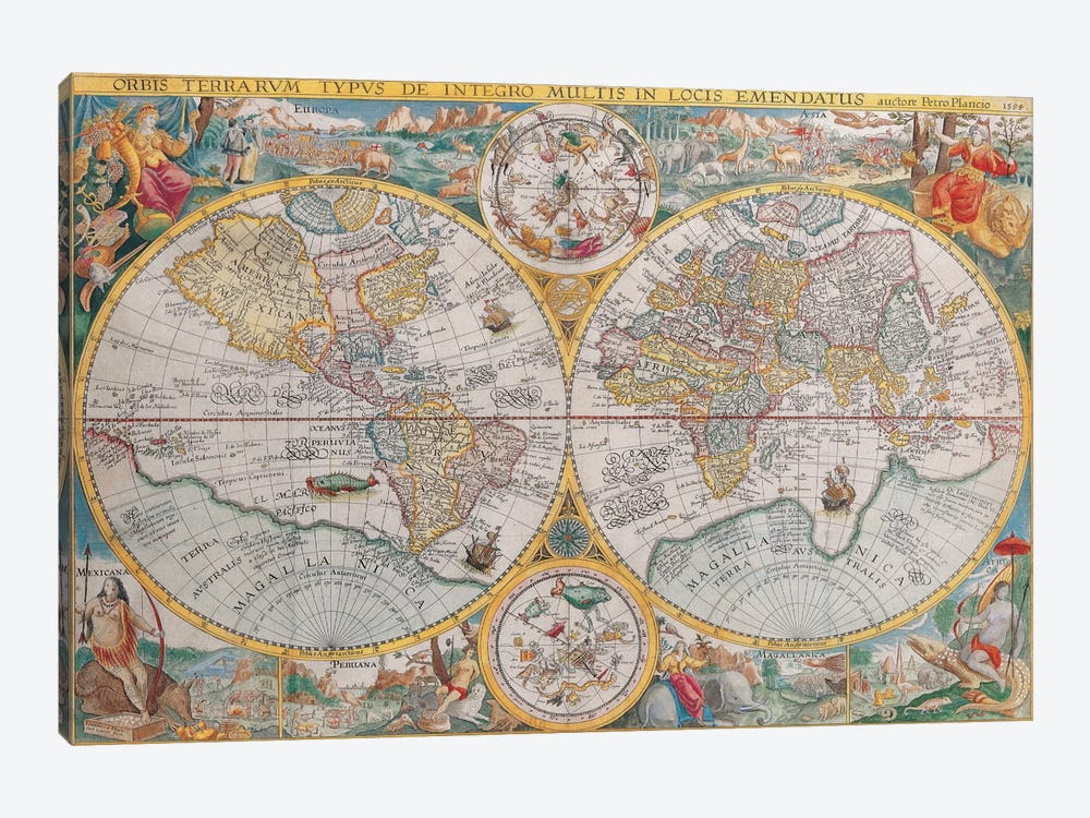 Antique Map of The World, 1594 by Unknown Artist 1-piece Art Print