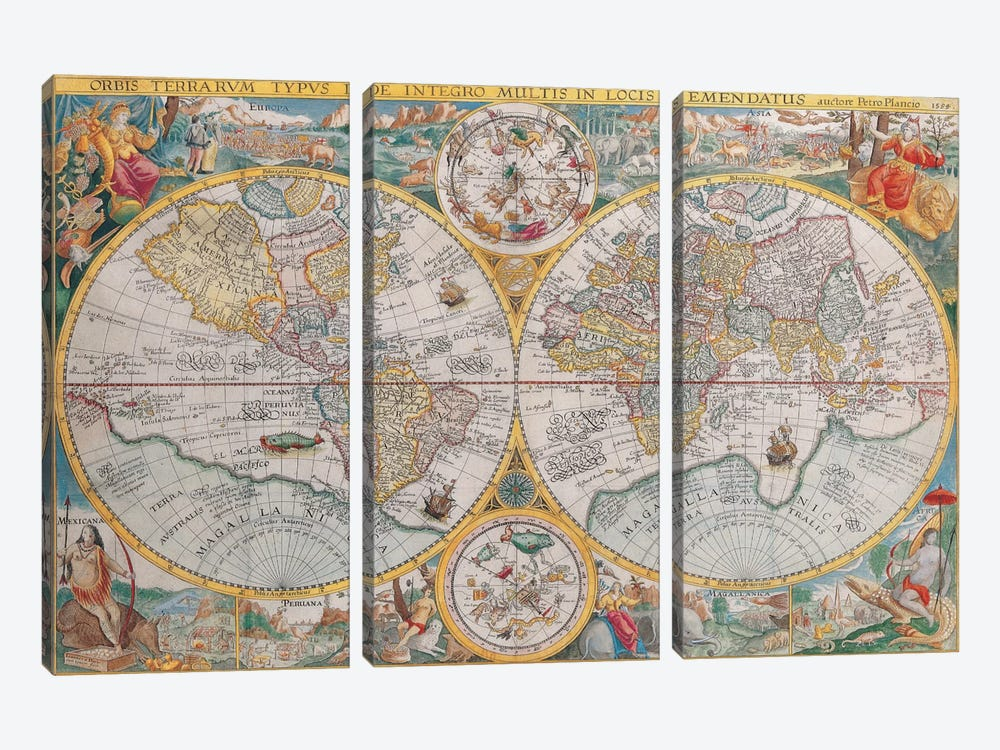 Antique Map of The World, 1594 by Unknown Artist 3-piece Canvas Print