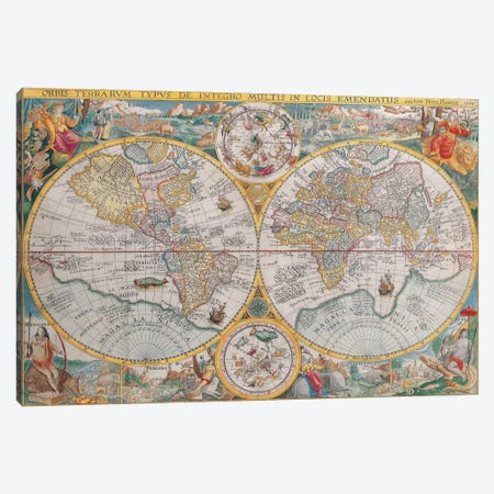 Antique Map of The World, 1594 Canvas Print #7014} by Unknown Artist Canvas Wall Art