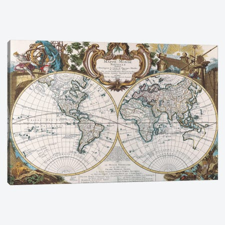 Antique Double Hemisphere Map of The World Canvas Print #7015} Canvas Art