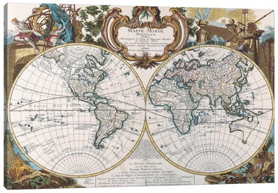 Antique Double Hemisphere Map of The World Canvas Print #7015