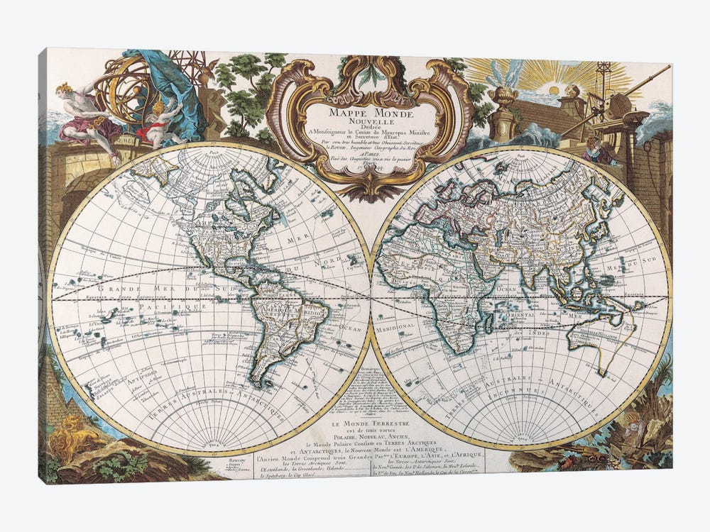 Antique Double Hemisphere Map of The World by Unknown Artist 1-piece Canvas Wall Art
