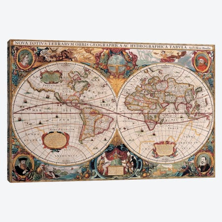 Antique World Map Canvas Print #7016} by Henricus Hondius Canvas Wall Art