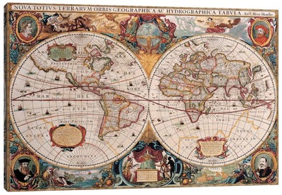 Antique World Map Canvas Print #7016
