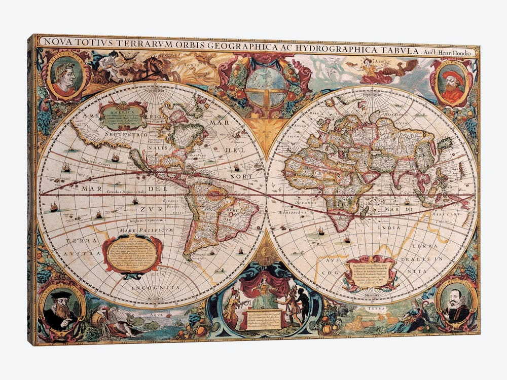 Antique World Map by Henricus Hondius 1-piece Canvas Art Print