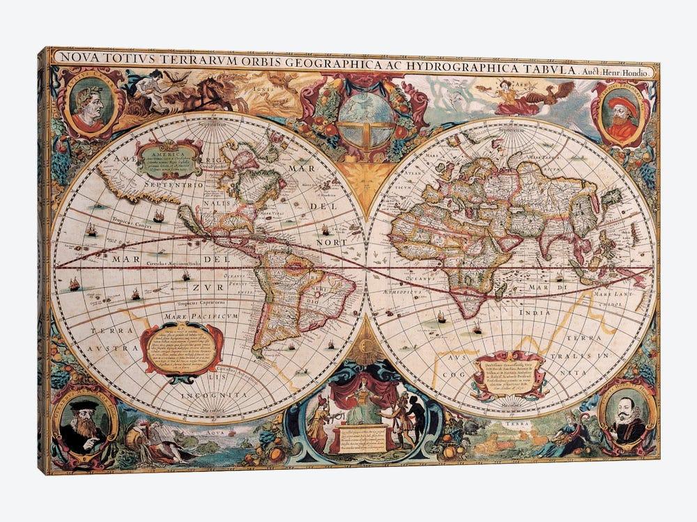 Antique World Map by Henricus Hondius 1-piece Canvas Art Print
