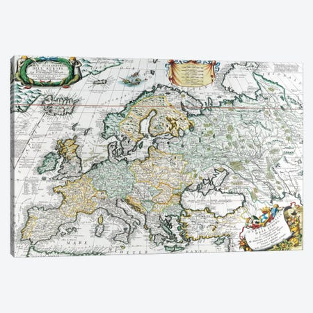 Antique Map of Europe Canvas Print #7018} by Unknown Artist Canvas Art Print