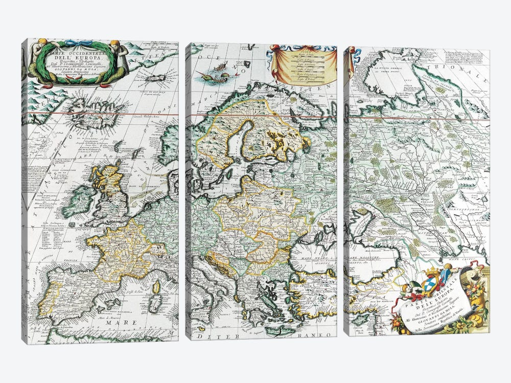 Antique Map of Europe 3-piece Art Print
